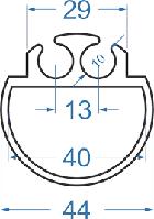 Алюминиевый гик двойной ø44 АД31Т5