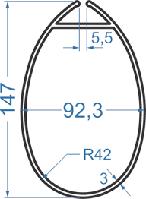 Алюминиевая мачта 147x92,3 АД31Т5 анод.