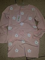 Детское платье, туника на девочку в цветочки нежно розовая 12  лет