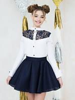 Школьная блуза для девочки Кружево-3 (р.122,128,134,146)