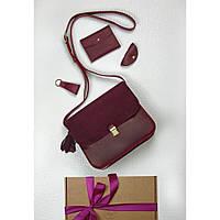 Подарочный набор кожаный женский марсала велюр (сумка, кошелек, брелок, открытка) ручная работа