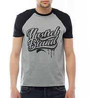 """Стильная мужская футболка с принтом """"Yastreb Brand"""" черный - серый"""