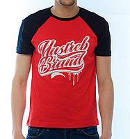 """Стильная мужская футболка с принтом """"Yastreb Brand"""" черный - красный"""