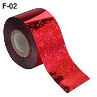 Фольга переводная для литья красная со звездочками 0,5 м