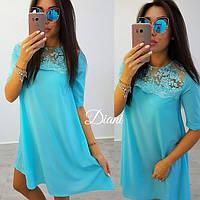 Платьеткань очень красивое дорогое кружево и летняя костюмка размер с-м единый(21365)