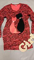 Детское платье, туника на девочку коралловая с котиками 2-8 лет