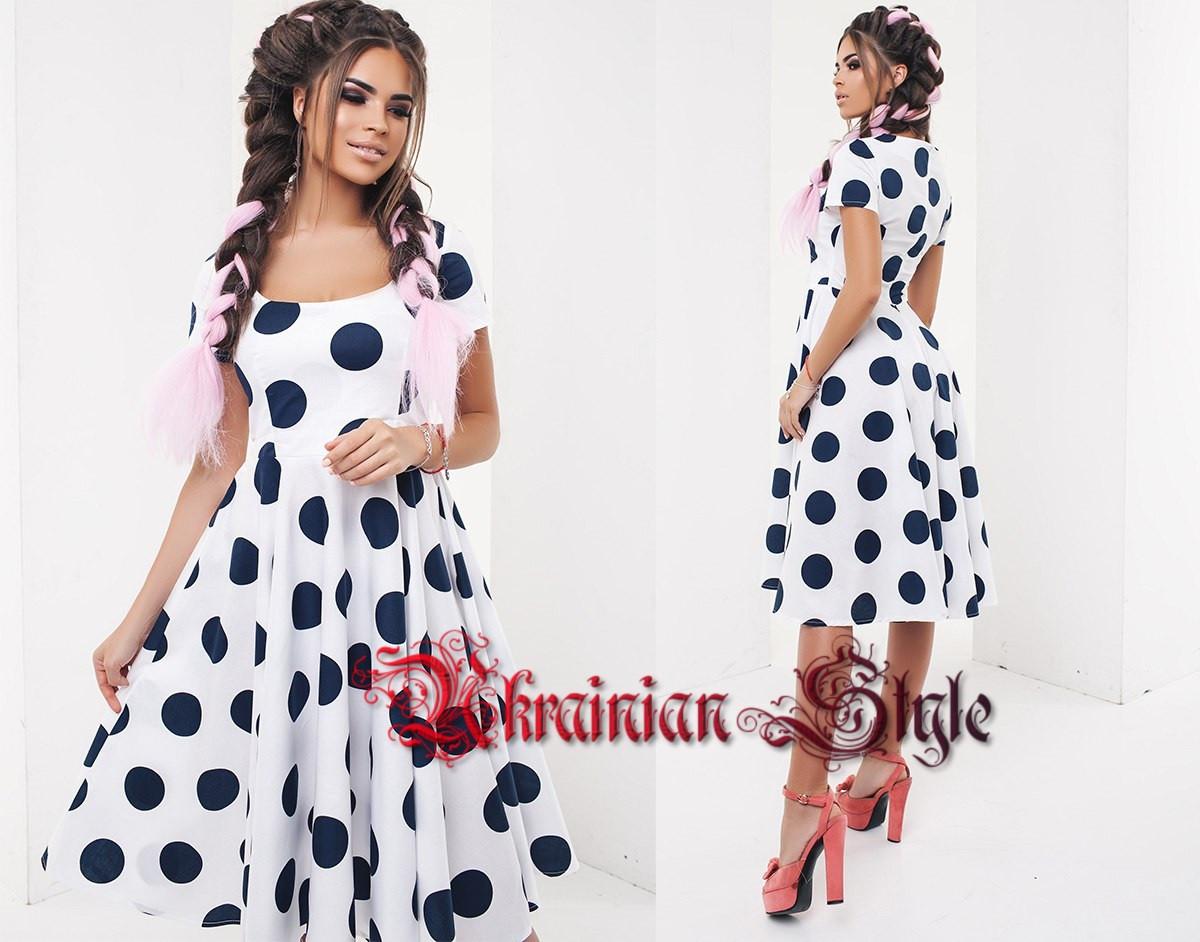 61638ad558c Летнее платье миди в крупный горох с юбкой солнце. 4 цвета!  продажа ...