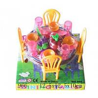 Мебель для куклы (для столовой, стол, стулья, посуда), 966