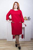 Красное  платье с карманами Лен  ТМ ИРМАНА 48-54 размеры
