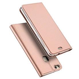 Чехол книжка для Huawei P10 Lite боковой с отсеком для визиток, DUX DUCIS, золотисто-розовый