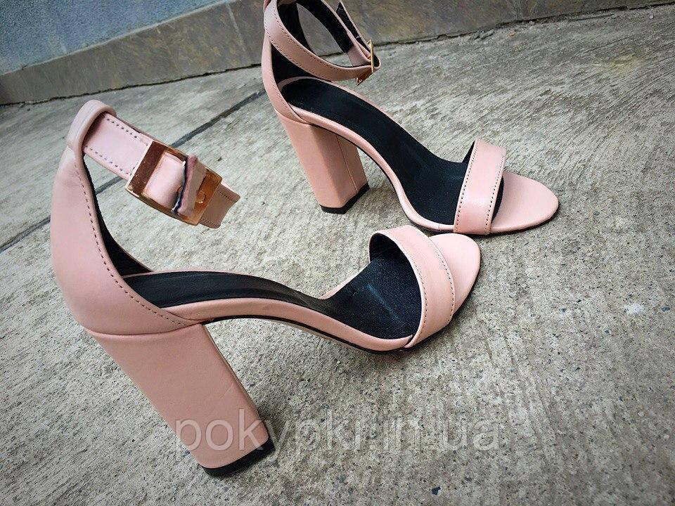 2f1c29b3e Стильные женские босоножки на толстом каблуке натуральная кожа с тонкой  пряжкой