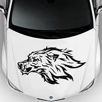 Виниловая наклейка на авто - на капот(волк узор 1 )