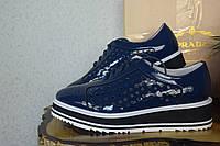Кожаные туфли летние Prada, оксфорды,   Прада,  синего цвета, синий цвет, кожа, бренд