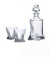 Набор бокалов и графин для виски Bohemia Quadro, стаканы 340 мл- 6 штук, графин 850 мл (7 предметов), b99999-99A44, 164797 /П1