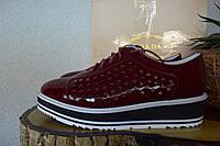 Кожаные туфли летние Prada, оксфорды,   Прада,  вишневого цвета, бордовый цвет, марсала