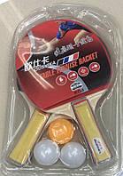 Теннис настольный, 2 ракетки, 3 мяча, 8 мм, PP0104