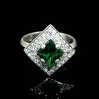Серебряное кольцо с фианитами Квадрат