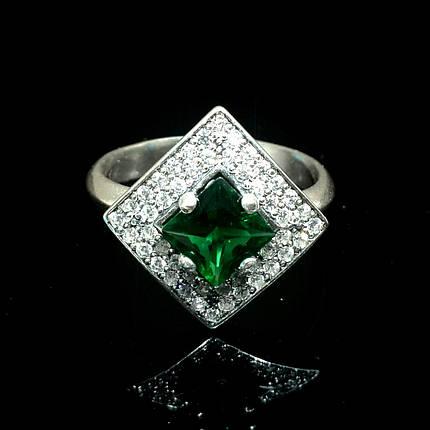 Серебряное кольцо с фианитами Квадрат, фото 2