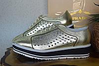 Кожаные туфли летние Prada, оксфорды,   Прада,  золотого цвета, золото, бренд. кожа