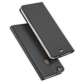 Чехол книжка для Huawei P10 Lite боковой с отсеком для визиток, DUX DUCIS, серый