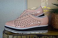 Кожаные туфли летние Prada, оксфорды,   Прада,  розового цвета, пудра цвет, кожа, бренд