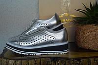 Кожаные туфли летние Prada, оксфорды,   Прада,  серебряного цвета, серебро цвет, бренд, кожа