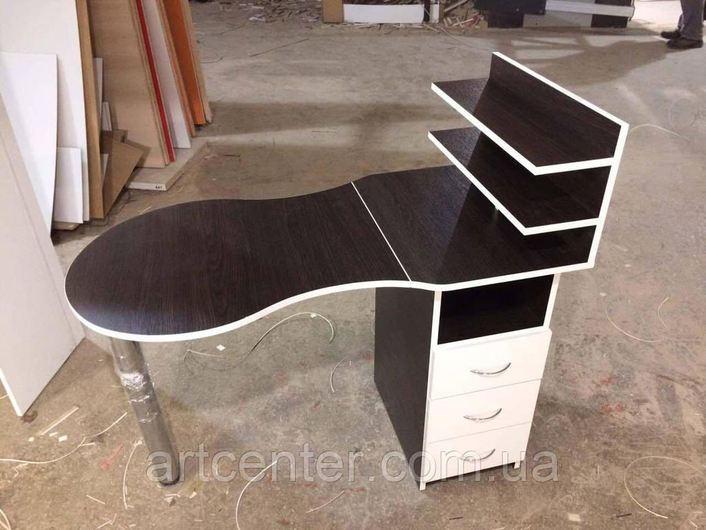 Маникюрный стол  однотумбовый, с выдвижными ящиками и полочками для лаков