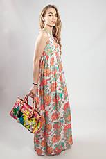 Женское летнее платье-сарафан  в пол Markshara зелено-абрикосовое, фото 2
