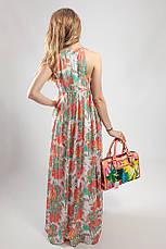 Женское летнее платье-сарафан  в пол Markshara зелено-абрикосовое, фото 3