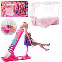 Мебель для кукол, диван, кукла 29см, шарнирная , дочка10см, сумка, трафарет, краска для волос, 66875