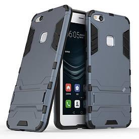Чехол накладка для Huawei P10 Lite противоударный силиконовый с пластиком, Alien, темно-синий