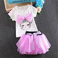Детская футболка и  юбка из фатина для девочки.