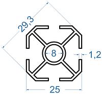 Алюминиевая стойка 25x25 АД31Т5 анод.
