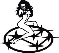 Виниловая наклейка на авто - (девушка марка машины 1)