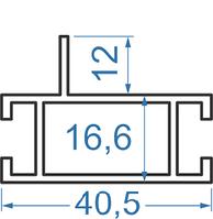 Алюминиевый ригель 40,5x16,6 мм АД31Т5 анод.