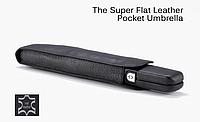 Зонт автомат складной бизнес формат EuroSCHIRM Super flat leather umbrella BLACK (черный) кожанный чехол, тефлоновое покрытие
