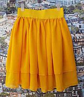 Подростковая воздушная летняя детская юбочка оранж р. 128-146