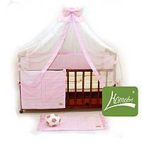 """Комплект постельного белья в детскую кроватку, 10 предметов, """"Радуга"""" ранфос-розовый, ТМ Homefort, 820242"""