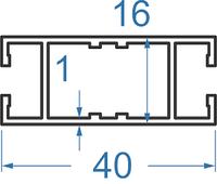 Алюминиевый ригель 40x16 АД31Т5 анод.
