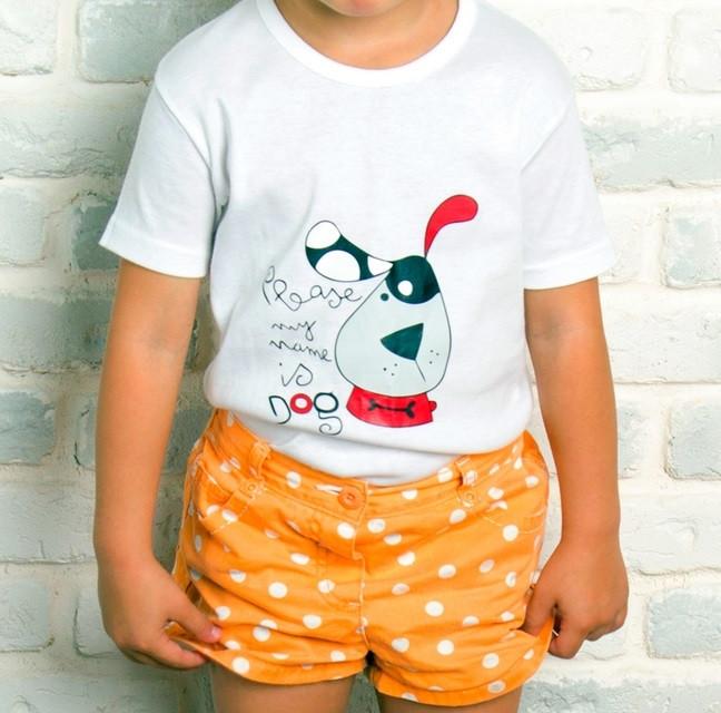 Белая футболка детская для мальчиков летняя с принтом собачка трикотажная хлопок Украина