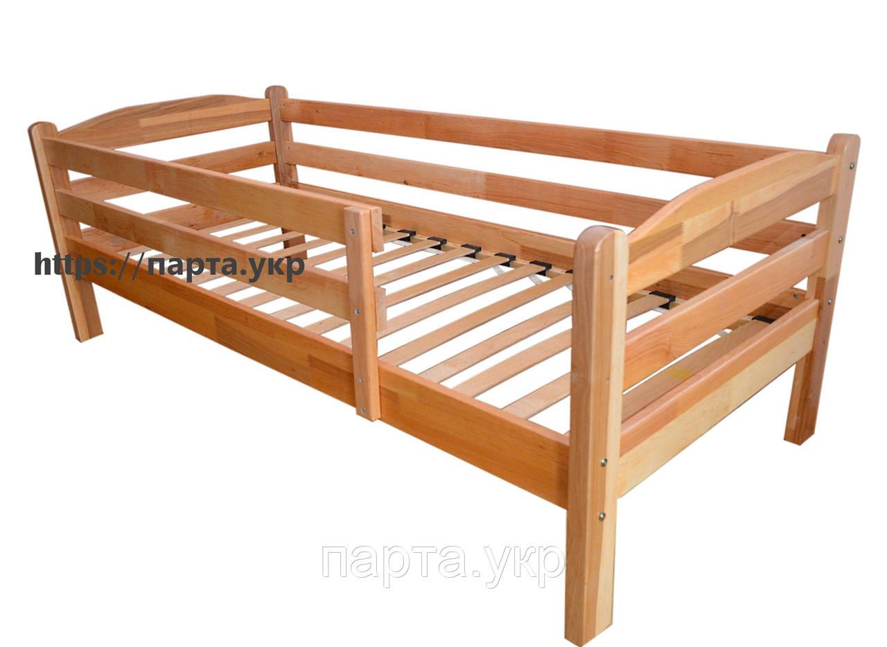 Ліжко підлітково-дитяча односпальне з вільхи з бортиком