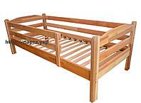 Кровать подростково-детская односпальная из ольхи с бортиком