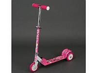 Самокат детский РОЗОВЫЙ ПОНИ, металлический, колеса PVC d-12,5см, 466-363