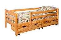 Деревянная кровать с бортиком и ящиками из ольхи, фото 1
