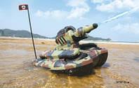 Танк Амфибия на радиоуправлении, аккумуляторный, светится, стреляет водой, 24883A