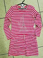 Детское платье, туника на девочку в розовую полоску 10 лет