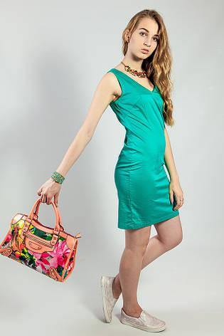 Женское летнее платье  зеленое короткое деловое Camaieu, фото 2