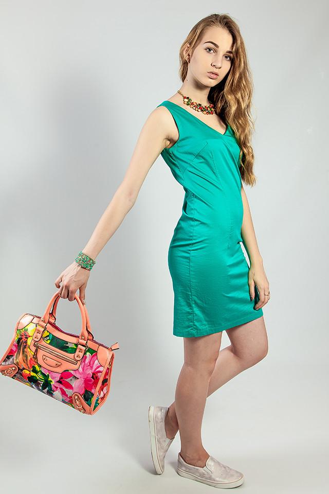 Женское летнее платье  зеленое короткое деловое Camaieu