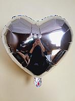 """Фольгированные шары """"Сердечки"""" 45 см Серебро"""