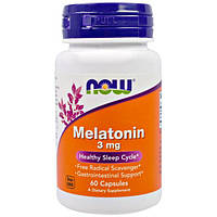 Мелатонин 60 капс  3 мг улучшение качества сна Now Foods USA